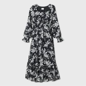 NWT Maternity Floral Bishop Sleeve Midi Dress
